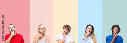 Collage of group of young people over colorful vintage isolated background with hand on chin thinking about question, pensive expression. Smiling with thoughtful face. Doubt concept.
