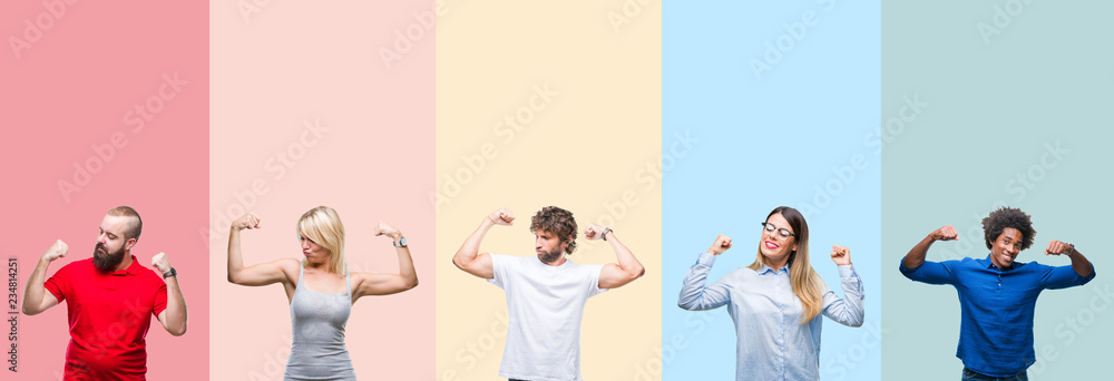 Fototapeta Collage of group of young people over colorful vintage isolated background showing arms muscles smiling proud. Fitness concept.