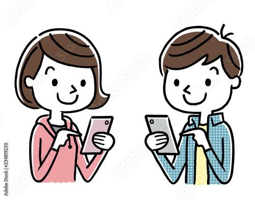 男の子と女の子:スマートフォン Canvas Print