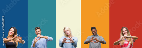Fotomural Collage of group of young people over colorful vintage isolated background smiling in love showing heart symbol and shape with hands