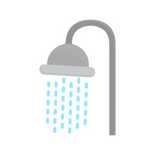 Shower Head Icon In Flat Style...