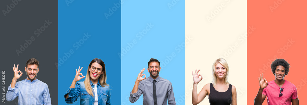 Fototapeta Collage of group of young people over colorful vintage isolated background smiling positive doing ok sign with hand and fingers. Successful expression.