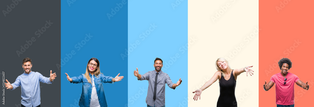 Fototapeta Collage of group of young people over colorful vintage isolated background looking at the camera smiling with open arms for hug. Cheerful expression embracing happiness.
