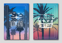Set Of Two Posters, Silhouettes Of Palm Trees Against The Sky. Invitation Leaflet For Tourists And Travelers. Logo From The Plane, Clouds, Butterflies, Flowers And Pigeons. 10 Eps