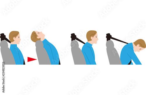 Obraz 追突事故と低いヘッドレスト。むち打ち症。 - fototapety do salonu