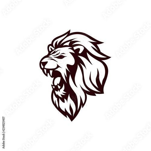 Fotografie, Tablou  Angry Lion Head Black and White Logo, Sign, Vector Design