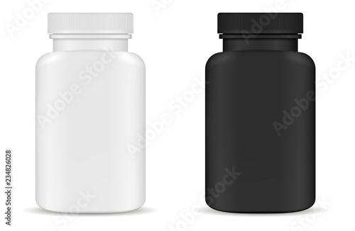 Obraz Drug medical bottles set. Black and white 3d Vector illustration. Mockup Template of medicine packaging for pills, capsule, drugs. Sports and health life supplements. - fototapety do salonu