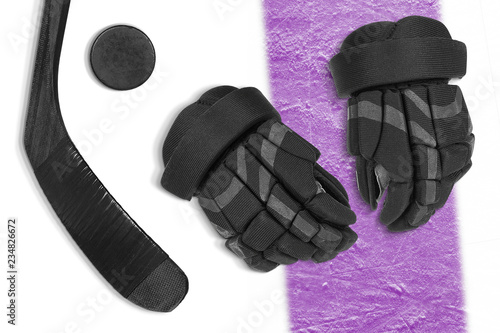 Hockey accessories on a white background with a purple stripe