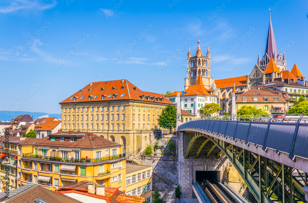 Fototapety, obrazy: Lausanne gothic cathedral Behind Charles Bessieres bridge, Switzerland