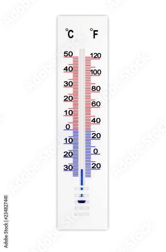 Meteorology Thermometer Isolated On White Background Air Temperature Minus 29 Degrees Celsius