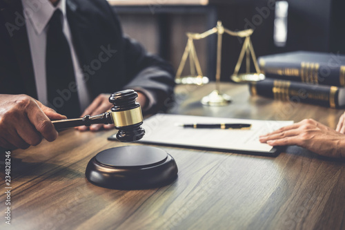 Valokuva  Good service cooperation, Consultation of Businesswoman and Male lawyer or judge