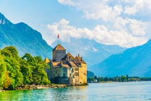 Chillon Castle Situated On Sho...
