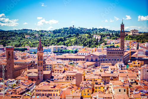 Garden Poster Palermo Beautiful panoramic view of Florence city skyline - towers, basilicas, red-tiled roofs of houses and mountains on the horizon, Florence, Tuscany, Italy