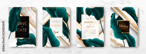 Photo Wedding invitation with palm leaves.