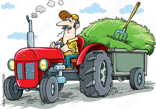 Photo The farmer drives the tractor