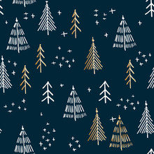 Marry Christmas And Christmas Tree Pattern, Vector Hand-drawing Graphics