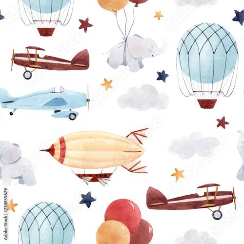 wzor-dziecka-samolotow-akwarela