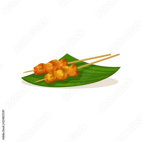 Fotografía  Traditional Malaysian snacks on wooden sticks