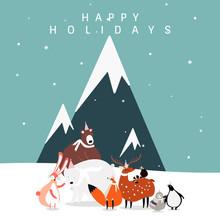 Winter Themed Postcard Design ...