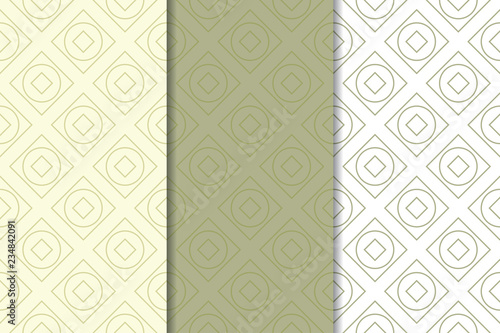 Poster Artificiel Olive green and white geometric seamless patterns