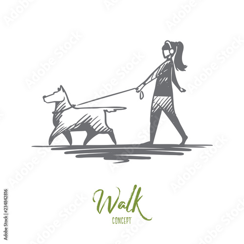 Walk, pet, dog, lifestyle, darling concept Wallpaper Mural