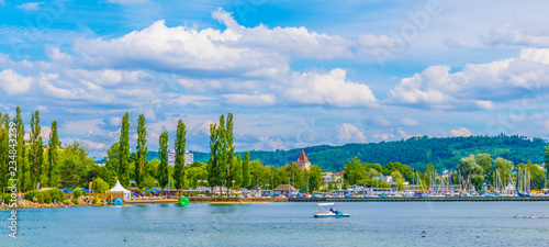 Photo Cityscape of Biel/Bienne behind Bielersee in Switzerland