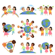 Collection Of Multicultural Little Kids Holding Earth Globe Together, Friendship, Unity Concept Vector Illustration Isolated On A White Background