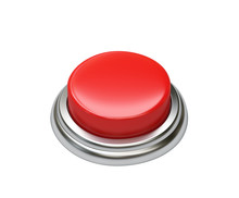 Red Button Isolated On White. Clipping Path Included