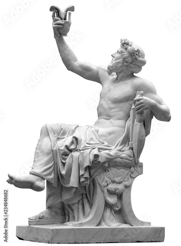 Statue of Dionysus or Bacchus with bunch of grapes isolated on white Fototapeta