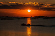 canvas print picture - Sonnenuntergang in der Lagune am Nationalpark des PO-Deltaflusses - Sacca degli Scardovari