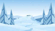 Winter Snowy Mountains Christmas Landscape With Path To Cartoon House