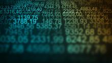 Random Numerical Data Grid Screen Blue Blur Background