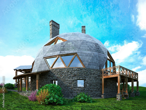 Gorgeous dome home of the future Wallpaper Mural