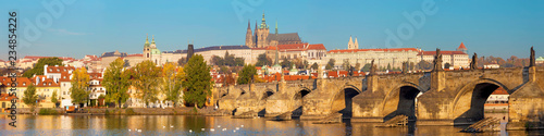 Prague - The panorama of Charles Bridge, Castle and Cathedral withe the Vltava river.