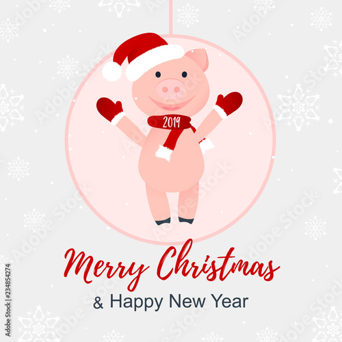 753758b4848f3 Vector Illustration. Cartoon happy pig. Merry Christmas and Happy New Year  poster. 2019