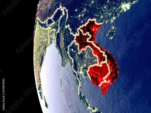 Foto  Night view of Indochina from space with visible city lights