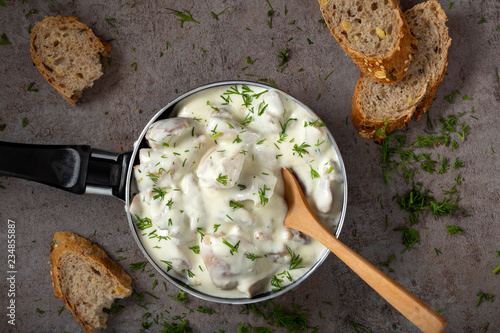 Stew made from fired chicken and sour cream with herbs