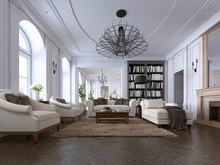 Classic Living Room, Paneling ...