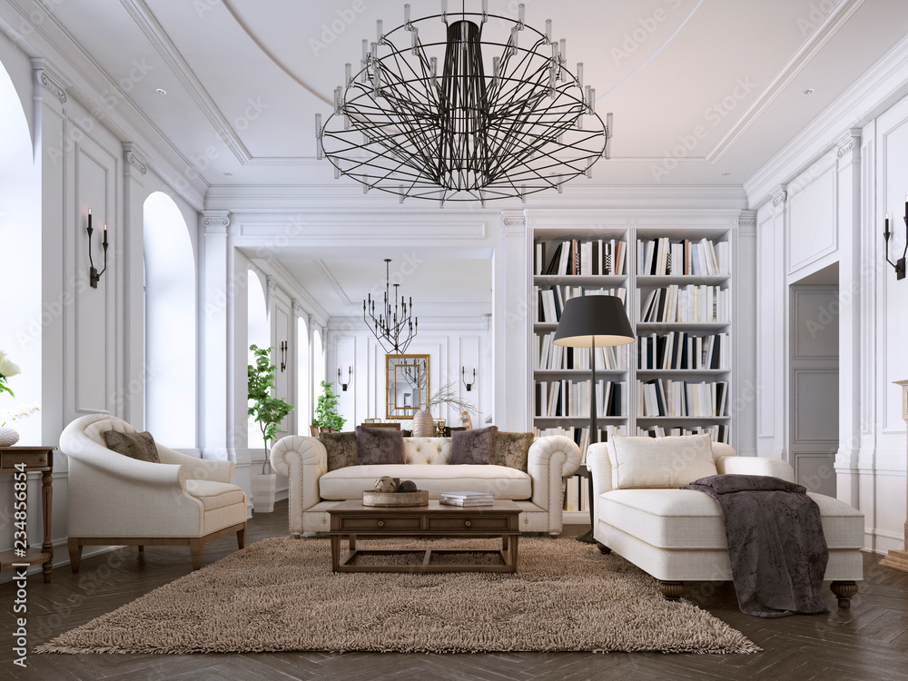 Fototapety, obrazy: Luxury classic interior of living room and dining room with white furniture and metal chandeliers.