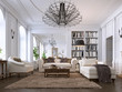 canvas print picture - Luxury classic interior of living room and dining room with white furniture and metal chandeliers.