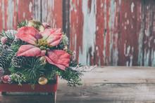 Christmas Poinsettia Flower Table Decoration.