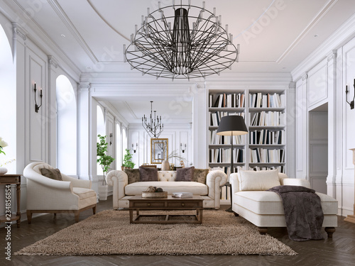 Obraz Luxury classic interior of living room and dining room with white furniture and metal chandeliers. - fototapety do salonu