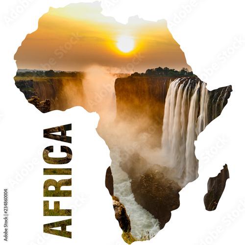 Fotografía  Victoria falls sunset, orange sun and africa continent outline