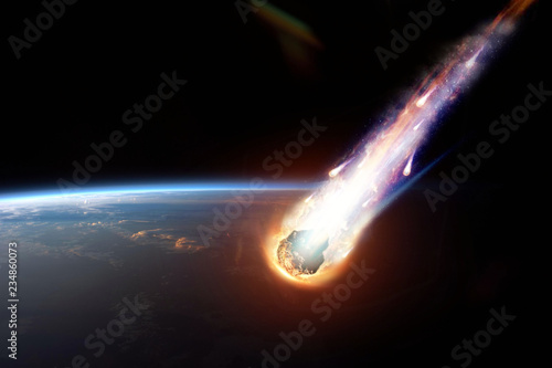 A comet, an asteroid, a meteorite glows, enters the earth's atmosphere Canvas Print