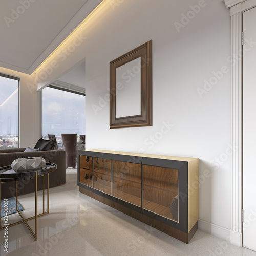 Fotografia, Obraz  low sideboard with a glass facade with a picture above, for the dining room