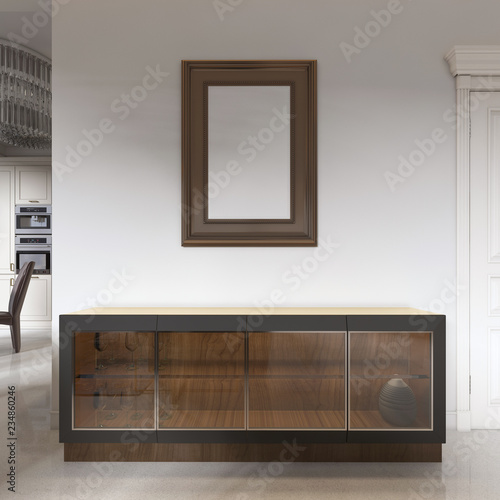 low sideboard with a glass facade with a picture above, for the dining room Tablou Canvas