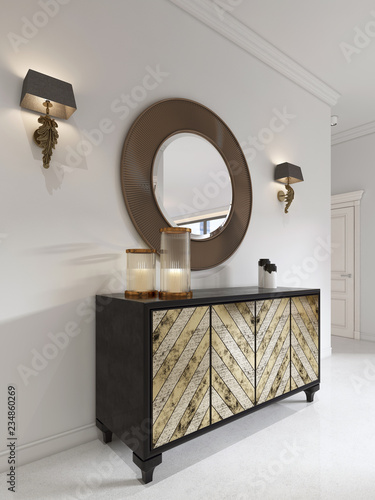 Fotografia, Obraz  Luxurious art deco style dresser with gilded facade and patina