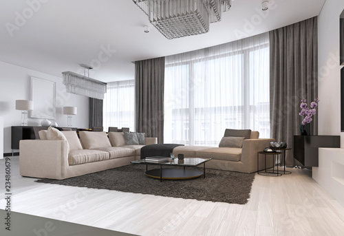 Modern light contemporary living room with large corner sofa ...