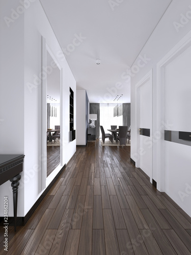 Hallway corridor in bright white colors with doors and built-in true niche with shelves and decor Poster Mural XXL