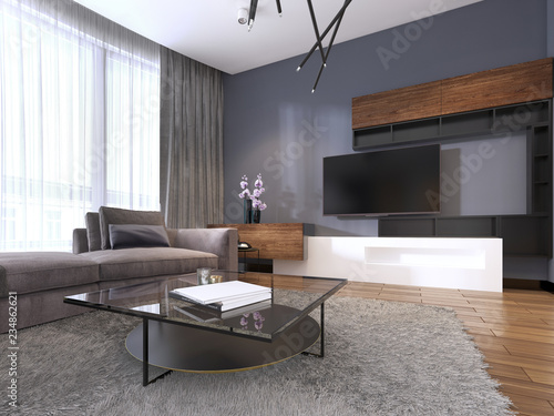 TV unit in contemporary living room with corner fabric big ...